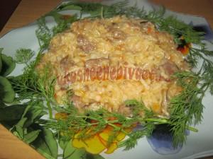 Рис с капустой и куриными сердечками